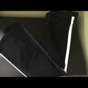 NWOT Express black and leather skinny jeans